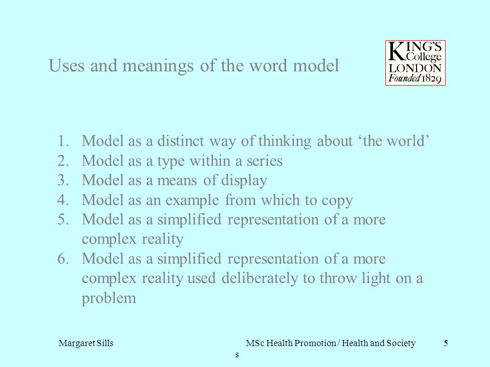 Margaret Sills MSc Health Promotion / Health and Society s 5 Uses and meanings of the word model 1.Model as a distinct way of thinking about the world