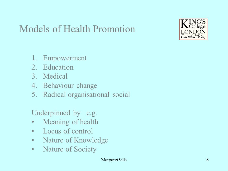 Margaret Sills6 Models of Health Promotion 1.Empowerment 2.Education 3.Medical 4.Behaviour change 5.Radical organisational social Underpinned by e.g.