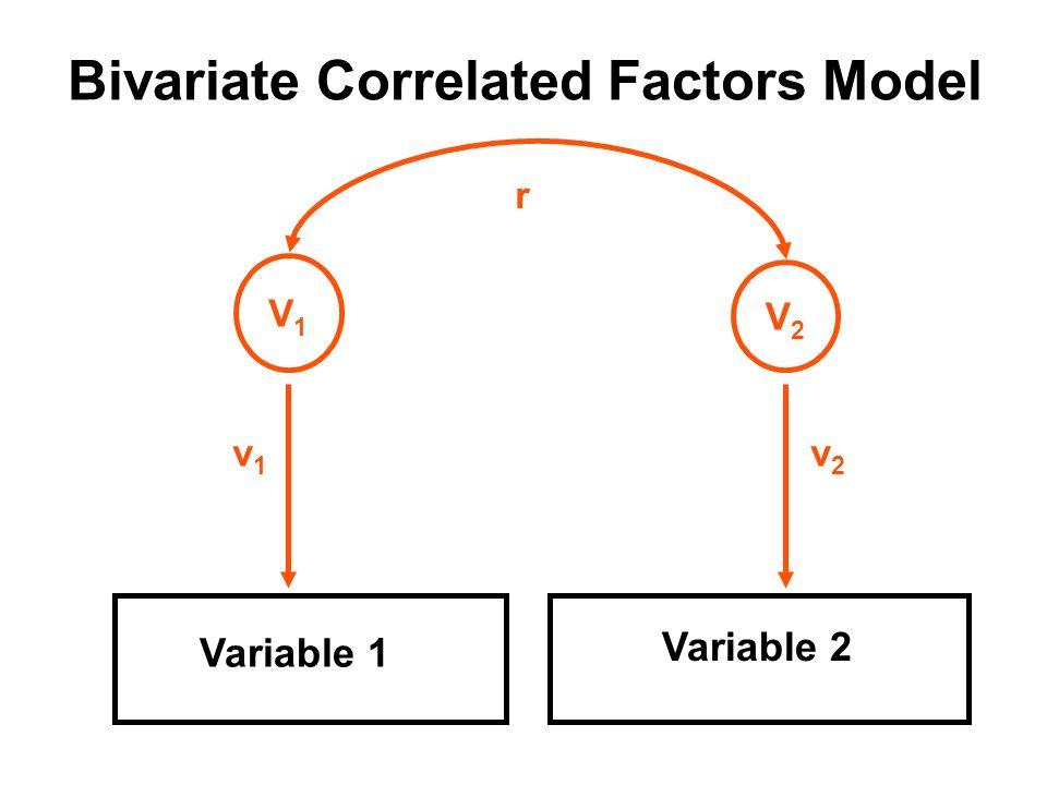 Bivariate Correlated Factors Model Variable 1 Variable 2 V1V1 v1v1 V2V2 v2v2 r