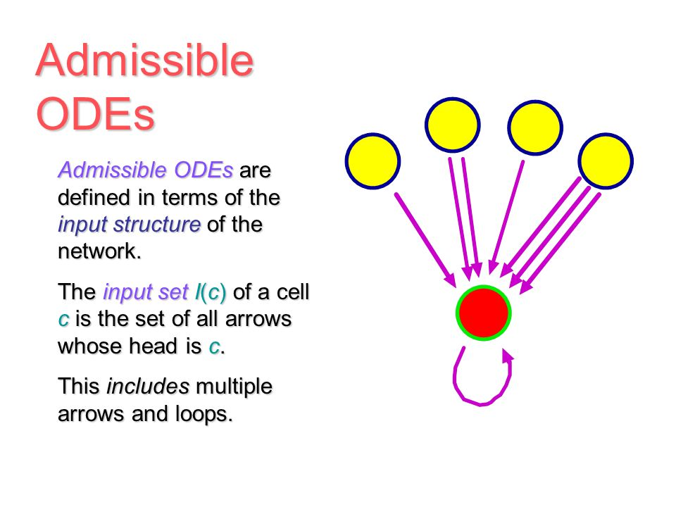 Network Dynamics To any network we associate a class of admissible vector fields, defining admissible ODEs, which consists of those vector fields F(x) That respect the network structure, and the corresponding ODEs dx/dt = F(x) What does respect the network structure mean
