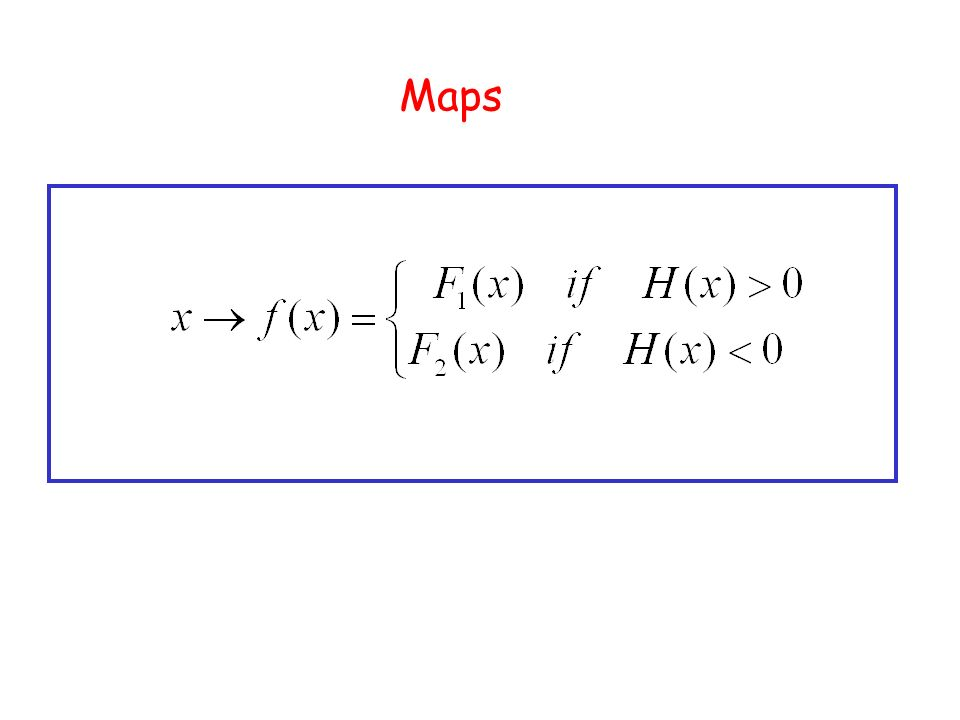 Key idea … The functions or one of their nth derivatives, differ when Discontinuity set Interesting discontinuity induced bifurcations occur when limit sets of the map intersect the discontinuity set