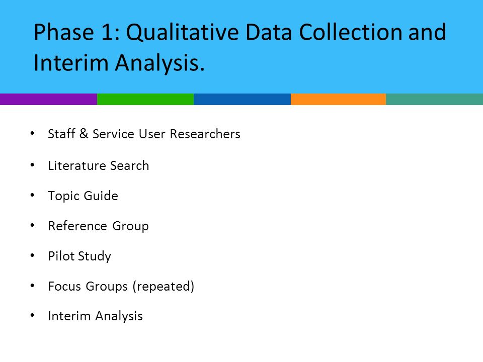 Staff & Service User Researchers Literature Search Topic Guide Reference Group Pilot Study Focus Groups (repeated) Interim Analysis Phase 1: Qualitati