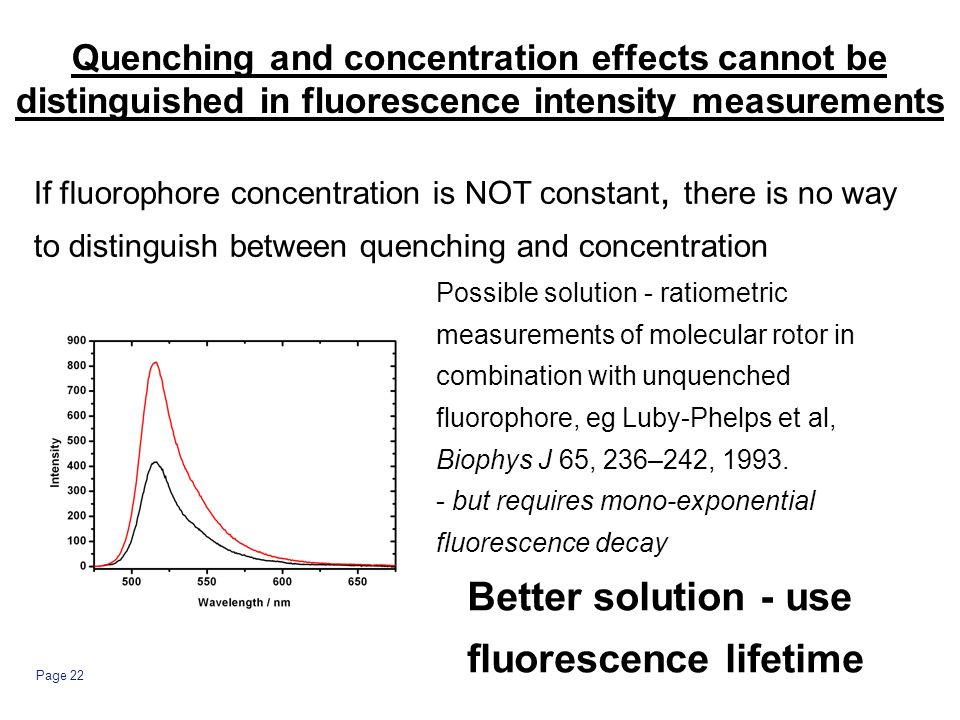 Page 22 Quenching and concentration effects cannot be distinguished in fluorescence intensity measurements If fluorophore concentration is NOT constant, there is no way to distinguish between quenching and concentration Better solution - use fluorescence lifetime Possible solution - ratiometric measurements of molecular rotor in combination with unquenched fluorophore, eg Luby-Phelps et al, Biophys J 65, 236–242, 1993.