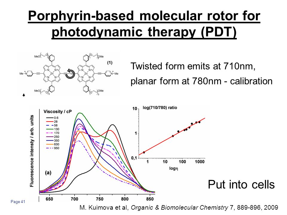 Page 41 Porphyrin-based molecular rotor for photodynamic therapy (PDT) Twisted form emits at 710nm, planar form at 780nm - calibration Put into cells M.