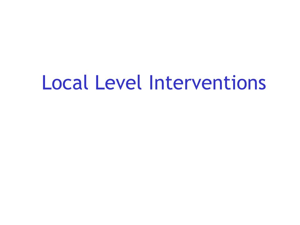 Local Level Interventions