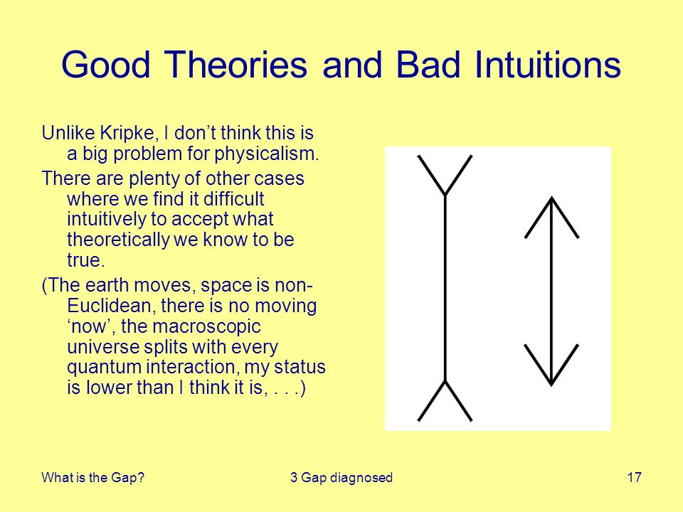 What is the Gap 3 Gap diagnosed17 Good Theories and Bad Intuitions Unlike Kripke, I dont think this is a big problem for physicalism.