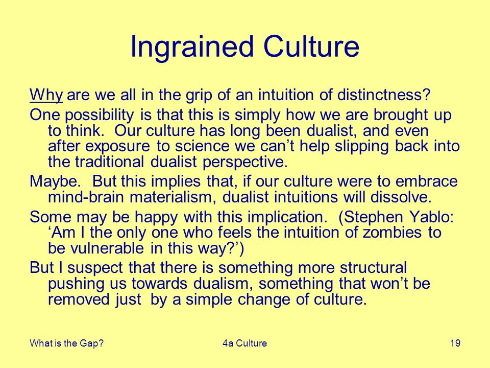 What is the Gap 4a Culture19 Ingrained Culture Why are we all in the grip of an intuition of distinctness.