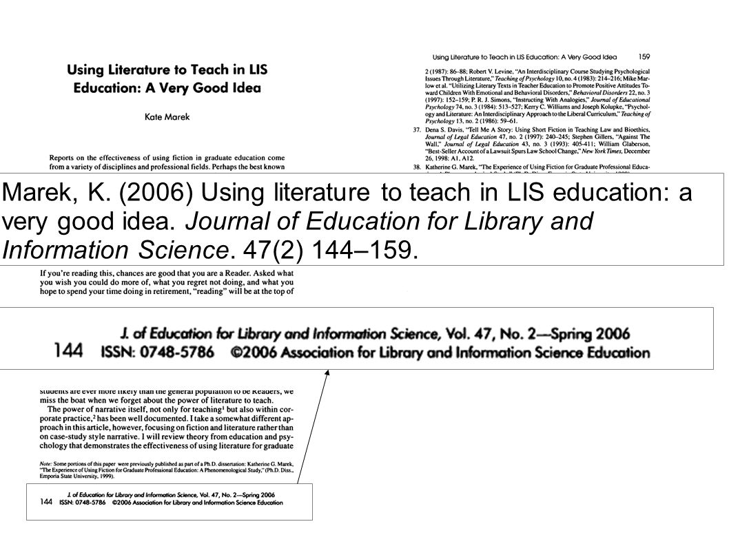 Marek, K. (2006) Using literature to teach in LIS education: a very good idea. Journal of Education for Library and Information Science. 47(2) 144–159