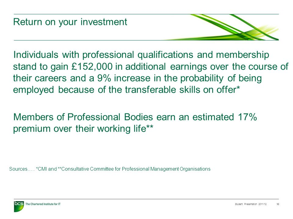 Student Presentation 2011/12 10 Individuals with professional qualifications and membership stand to gain £152,000 in additional earnings over the course of their careers and a 9% increase in the probability of being employed because of the transferable skills on offer* Members of Professional Bodies earn an estimated 17% premium over their working life** Sources…..