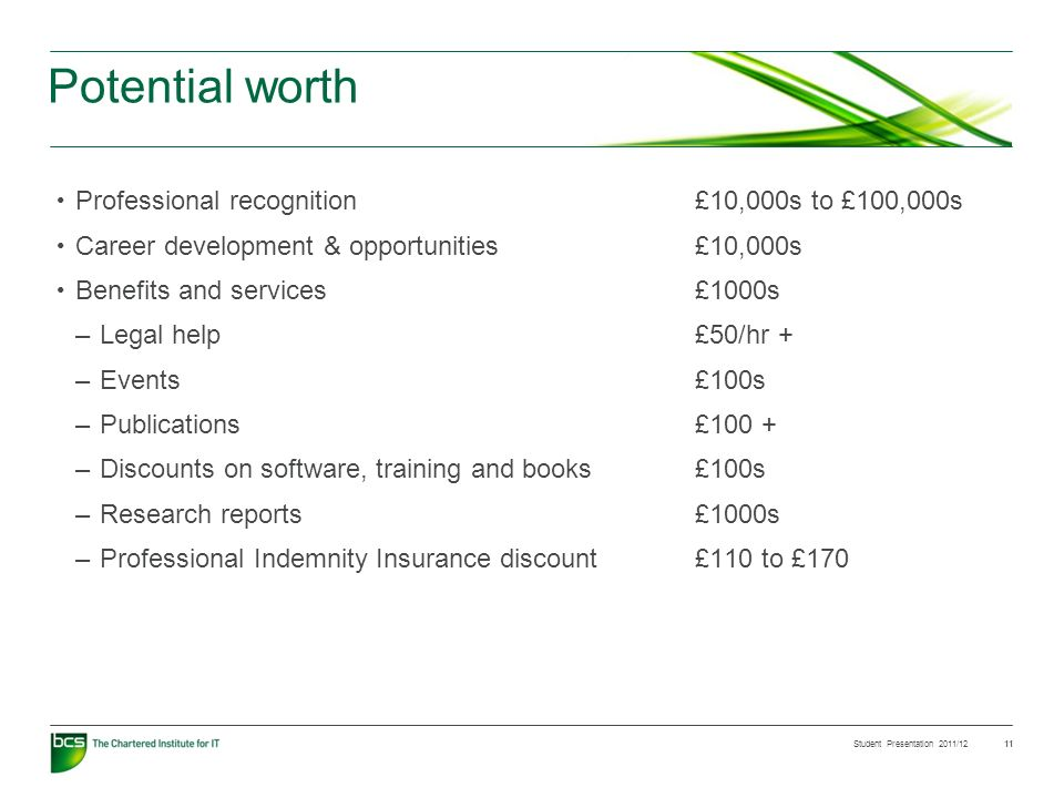 Student Presentation 2011/12 11 Potential worth Professional recognition £10,000s to £100,000s Career development & opportunities£10,000s Benefits and