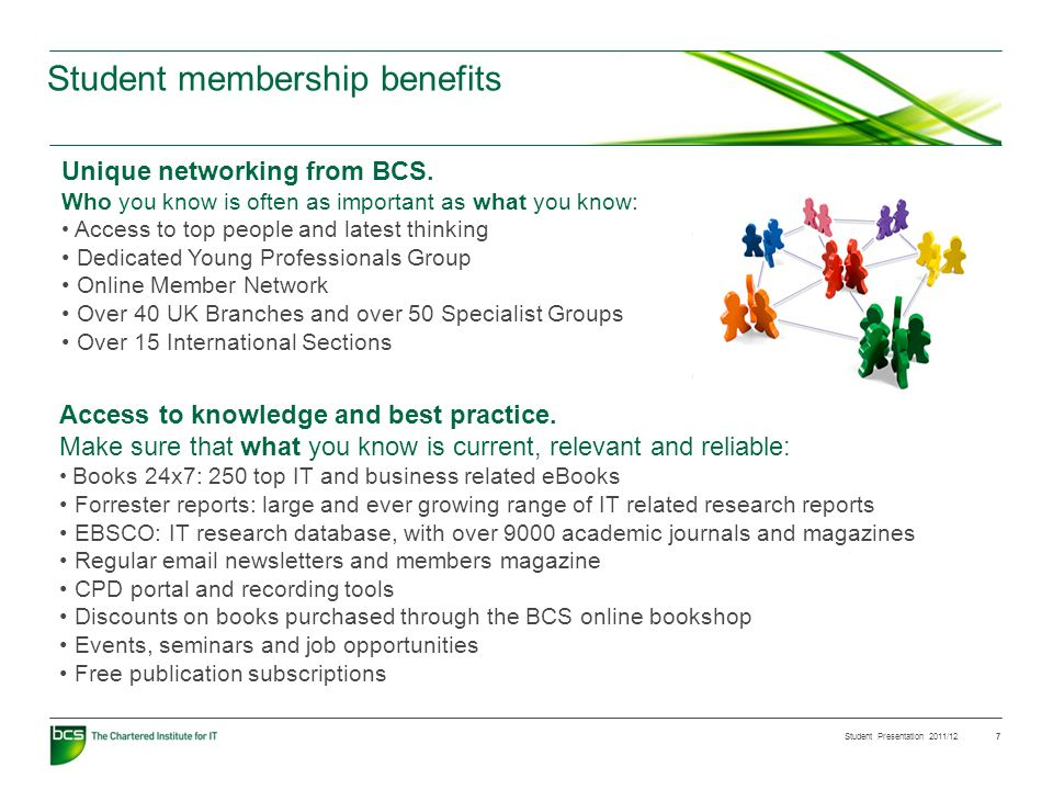 Student Presentation 2011/12 7 Student membership benefits Access to knowledge and best practice. Make sure that what you know is current, relevant an
