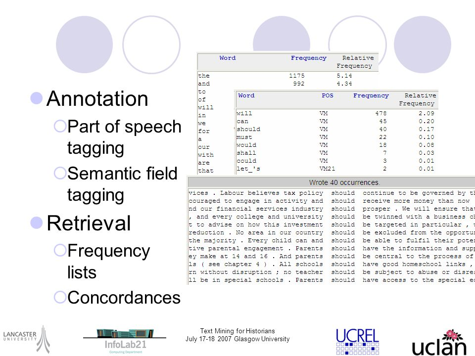 Text Mining for Historians July 17-18 2007 Glasgow University Annotation Part of speech tagging Semantic field tagging Retrieval Frequency lists Conco