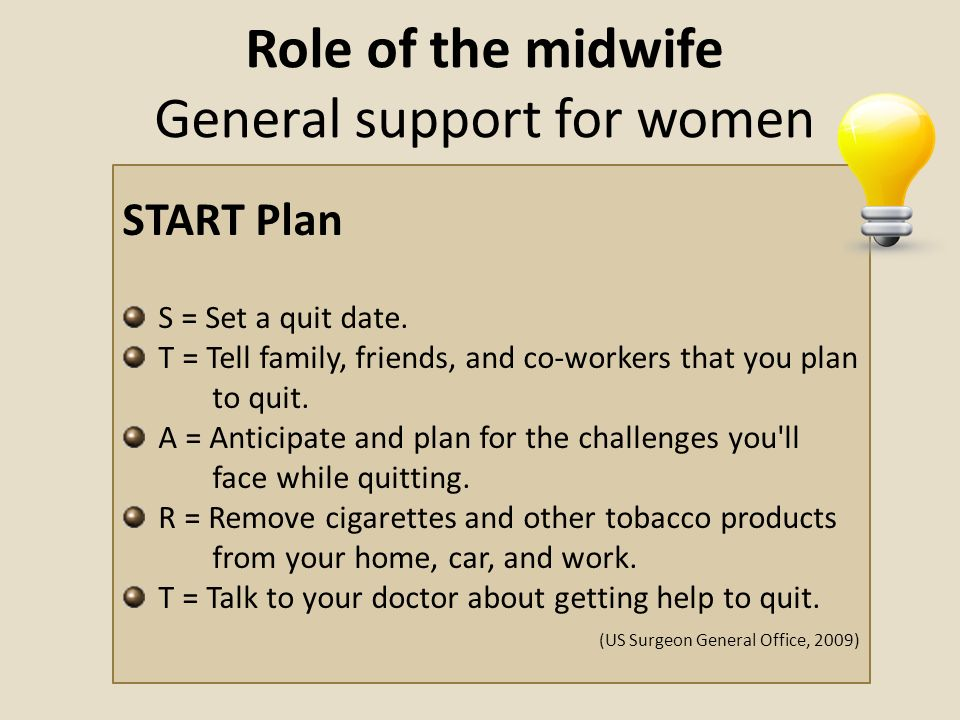 Role of the midwife General support for women START Plan S = Set a quit date. T = Tell family, friends, and co-workers that you plan to quit. A = Anti