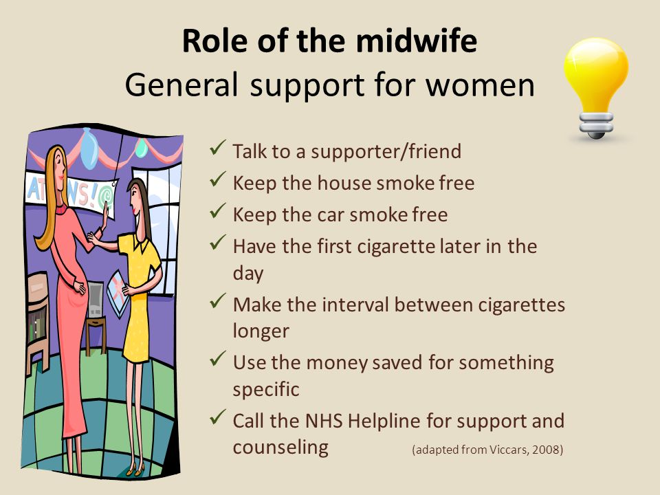 Role of the midwife General support for women Talk to a supporter/friend Keep the house smoke free Keep the car smoke free Have the first cigarette la