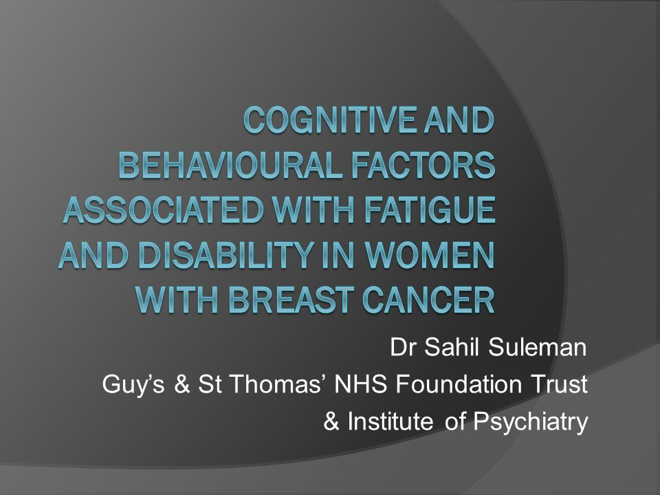 Dr Sahil Suleman Guys & St Thomas NHS Foundation Trust & Institute of Psychiatry