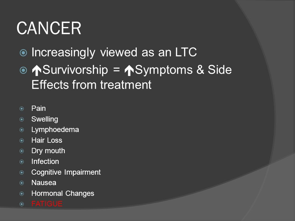 CANCER Increasingly viewed as an LTC Survivorship = Symptoms & Side Effects from treatment Pain Swelling Lymphoedema Hair Loss Dry mouth Infection Cog