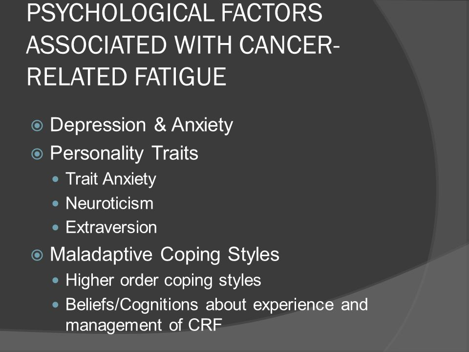 INTERVENTIONS TARGETING CANCER-RELATED FATIGUE Pharmacological Exercise & Activity Complementary & Lifestyle Psychological Wider Psychosocial Approaches education, social support, relaxation, self-care Cognitive Behavioural Approaches