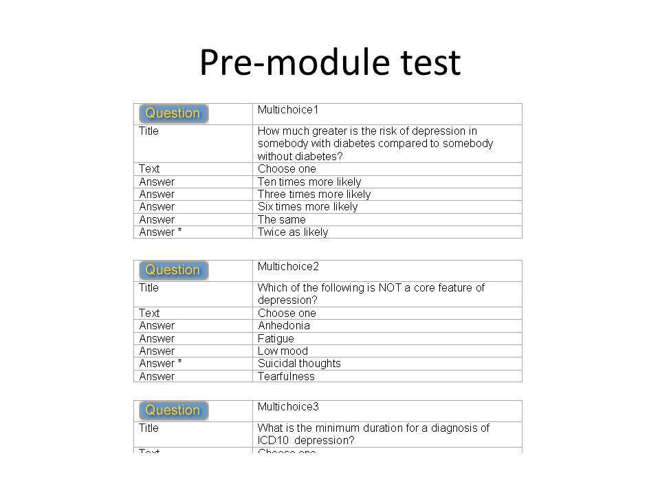 Pre-module test