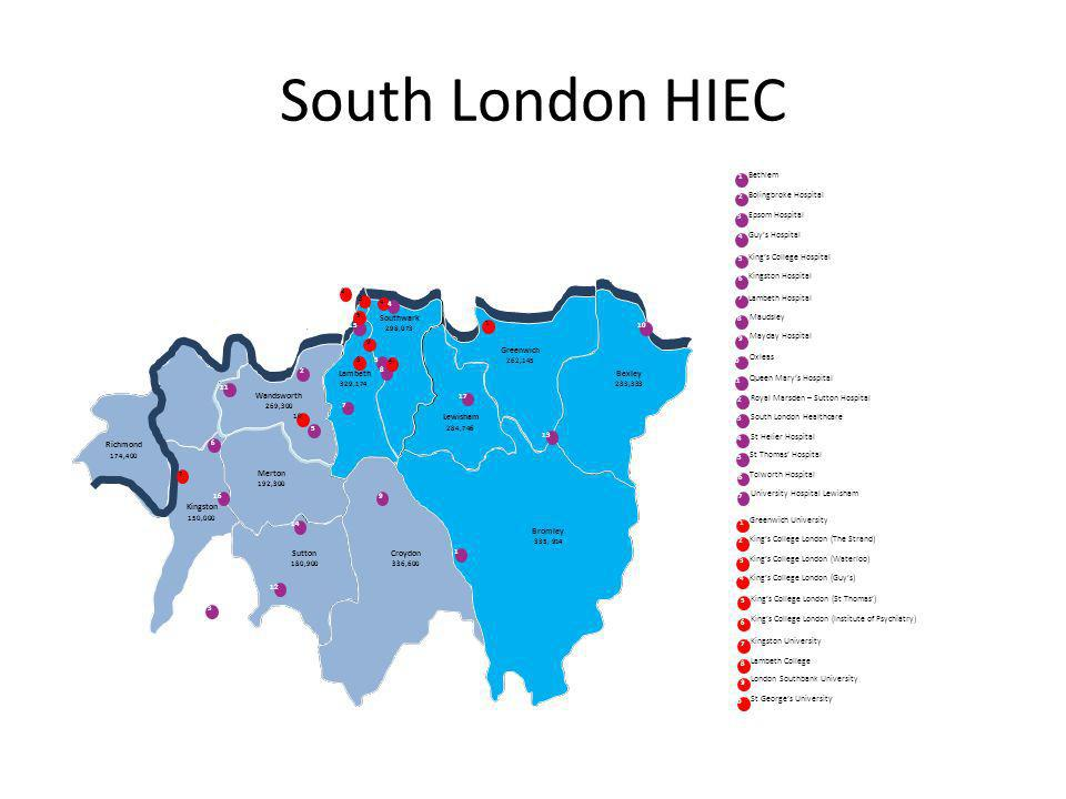 South London HIEC Richmond 174,400 Wandsworth 269,300 Kingston 150,000 Merton 192,300 Sutton 180,900 Croydon 336,600 Bromley 335, 914 Lewisham 284,746 Lambeth 329,174 Southwark 298,073 Greenwich 262,145.