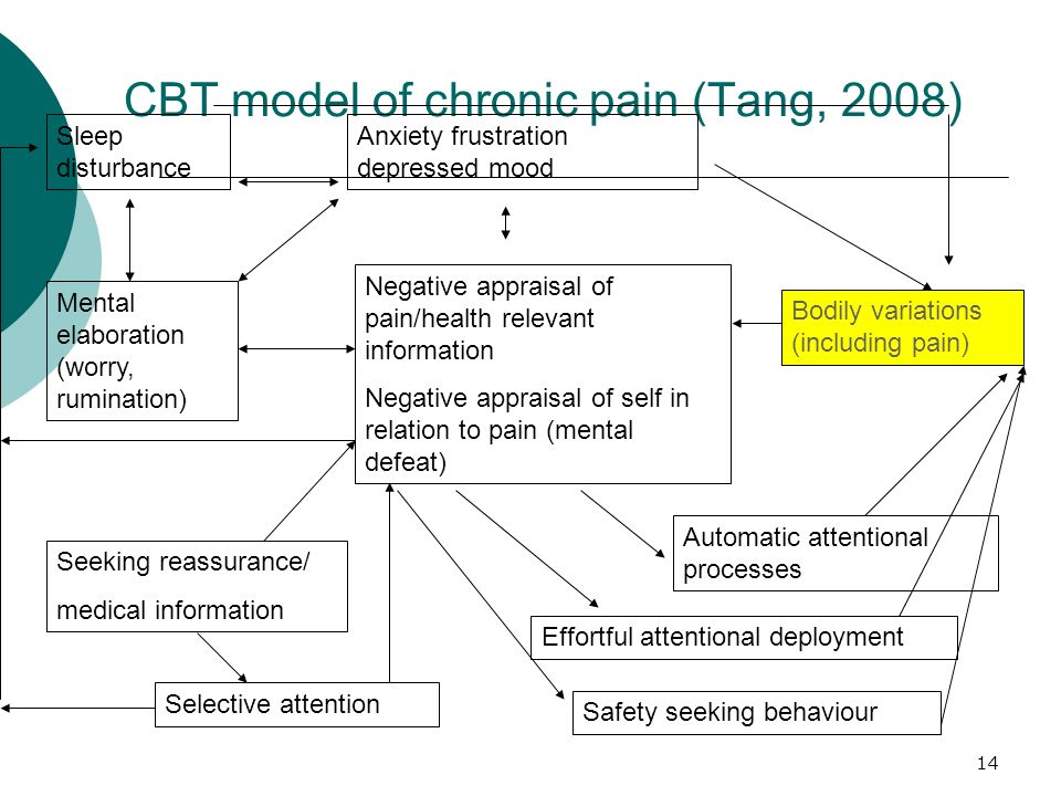 14 CBT model of chronic pain (Tang, 2008) Negative appraisal of pain/health relevant information Negative appraisal of self in relation to pain (menta