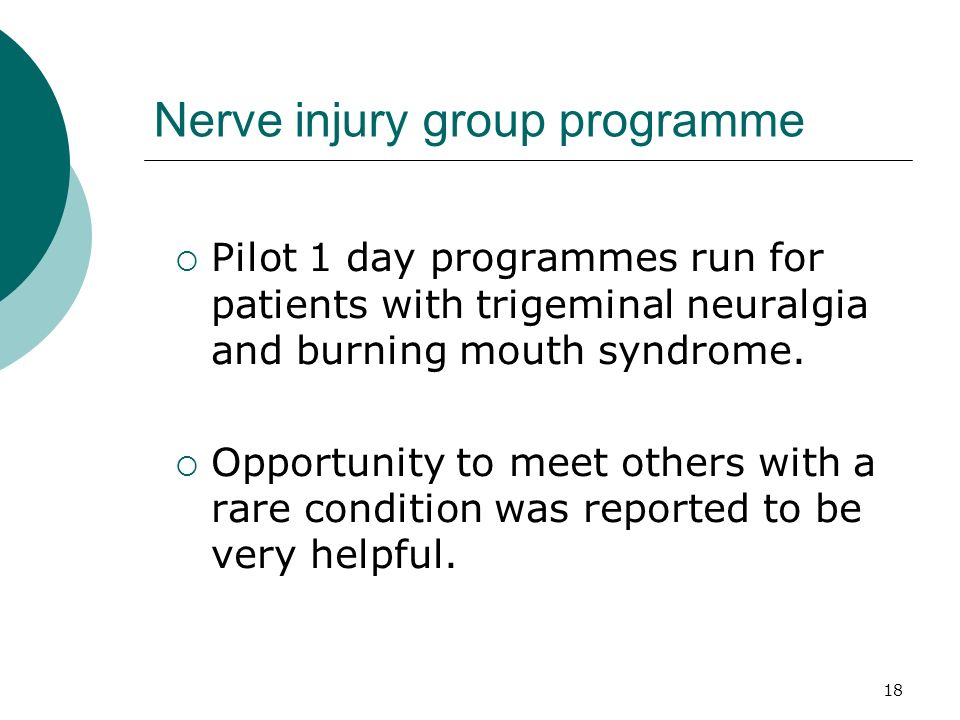 18 Nerve injury group programme Pilot 1 day programmes run for patients with trigeminal neuralgia and burning mouth syndrome. Opportunity to meet othe