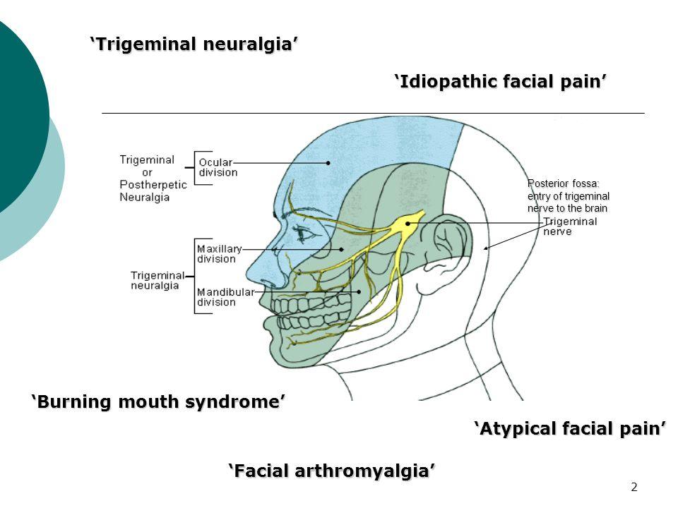 2 Posterior fossa: entry of trigeminal nerve to the brain Trigeminal neuralgia Burning mouth syndrome Idiopathic facial pain Facial arthromyalgia Atyp