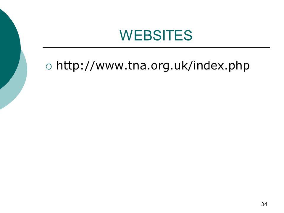 34 WEBSITES http://www.tna.org.uk/index.php