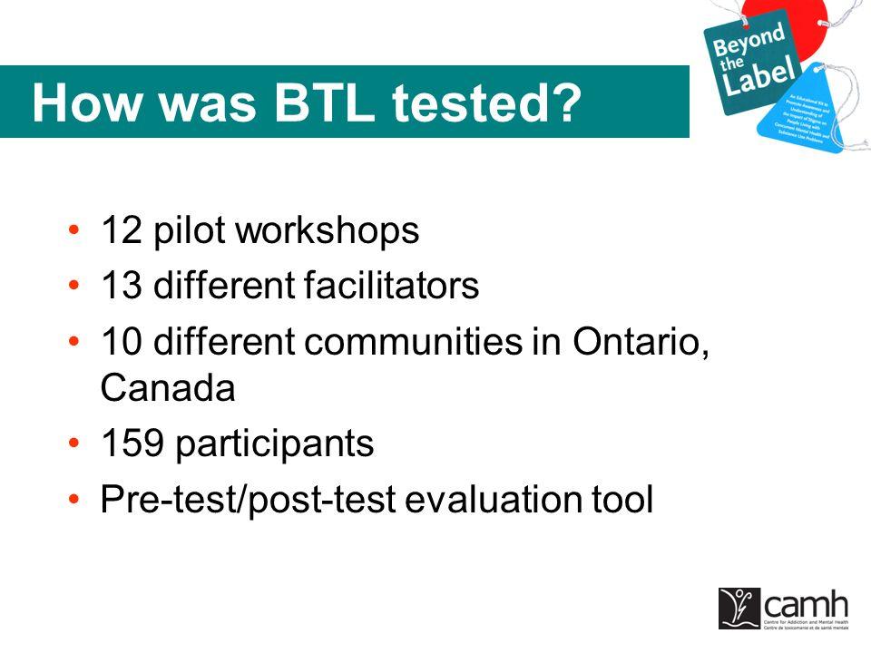 How was BTL tested? 12 pilot workshops 13 different facilitators 10 different communities in Ontario, Canada 159 participants Pre-test/post-test evalu