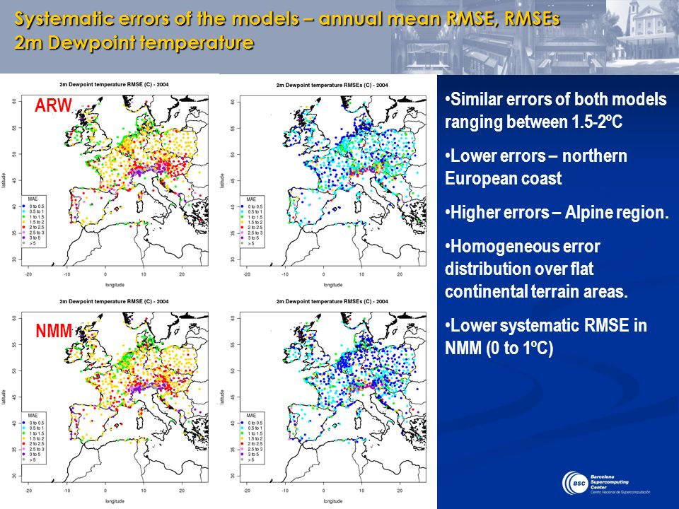 Systematic errors of the models – annual mean RMSE, RMSEs 2m Dewpoint temperature ARW NMM Similar errors of both models ranging between 1.5-2ºC Lower