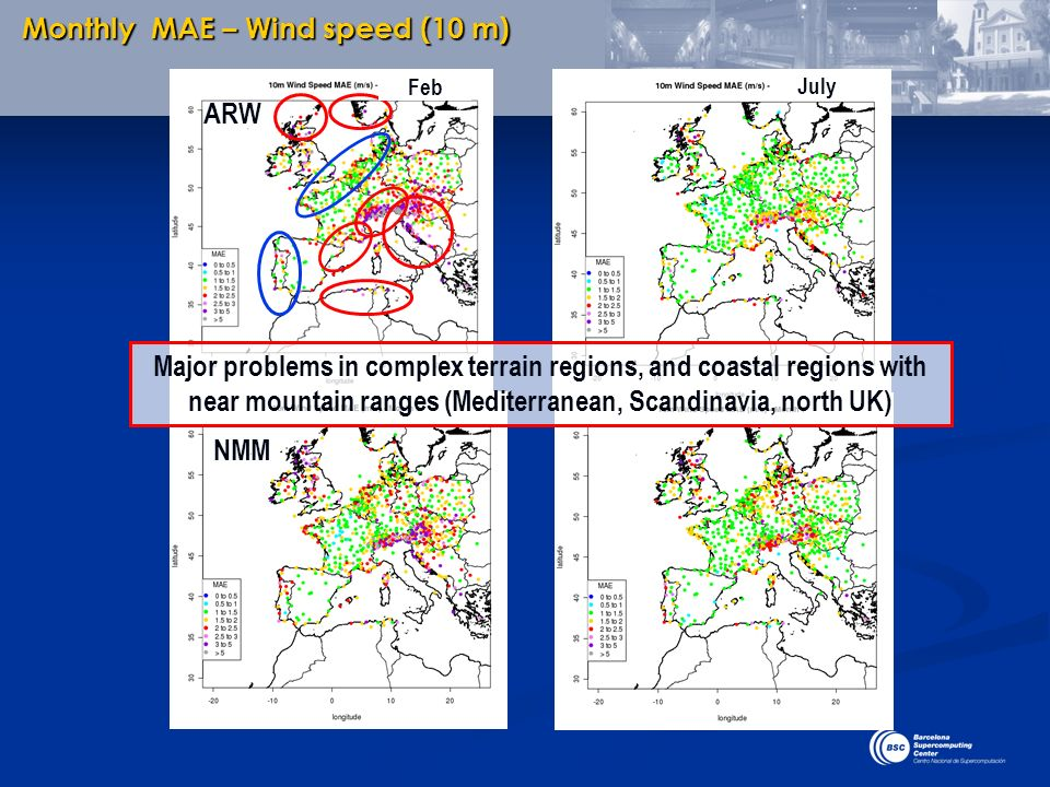 Monthly MAE – Wind speed (10 m) Major problems in complex terrain regions, and coastal regions with near mountain ranges (Mediterranean, Scandinavia,