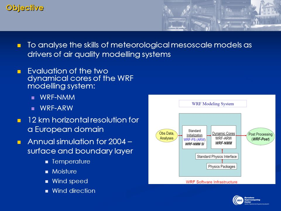 Evaluation of the two dynamical cores of the WRF modelling system: WRF-NMM WRF-ARW 12 km horizontal resolution for a European domain Annual simulation