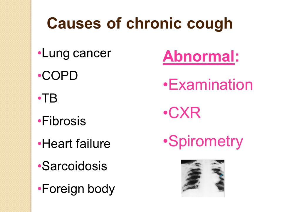 Causes of chronic cough Lung cancer COPD TB Fibrosis Heart failure Sarcoidosis Foreign body Abnormal: Examination CXR Spirometry