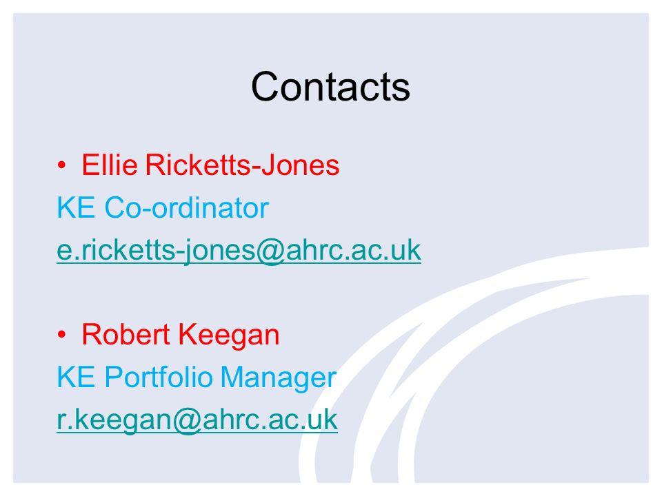 Contacts Ellie Ricketts-Jones KE Co-ordinator e.ricketts-jones@ahrc.ac.uk Robert Keegan KE Portfolio Manager r.keegan@ahrc.ac.uk