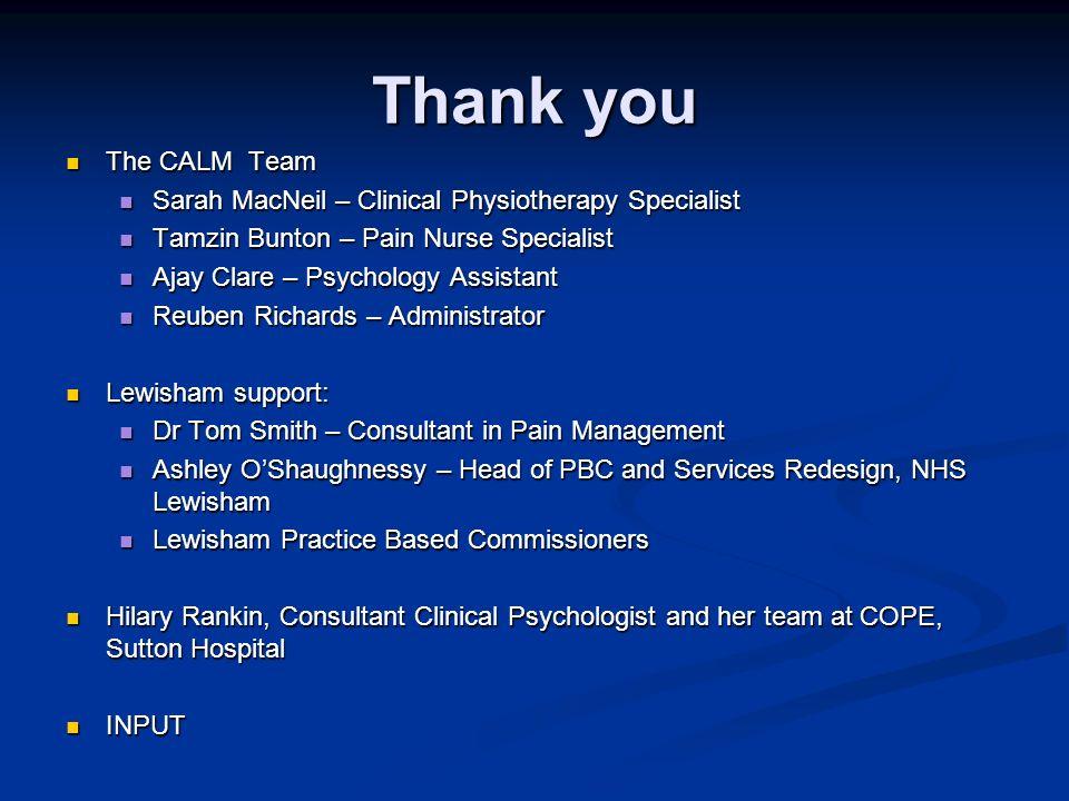 Thank you The CALM Team The CALM Team Sarah MacNeil – Clinical Physiotherapy Specialist Sarah MacNeil – Clinical Physiotherapy Specialist Tamzin Bunto