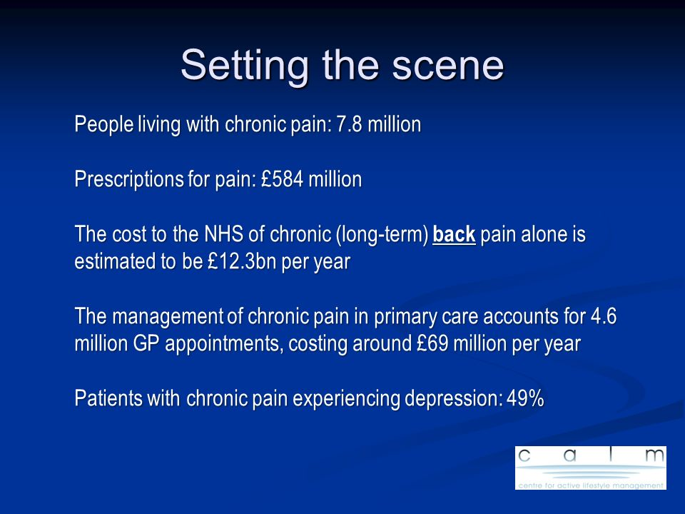 Setting the scene People living with chronic pain: 7.8 million Prescriptions for pain: £584 million The cost to the NHS of chronic (long-term) back pa