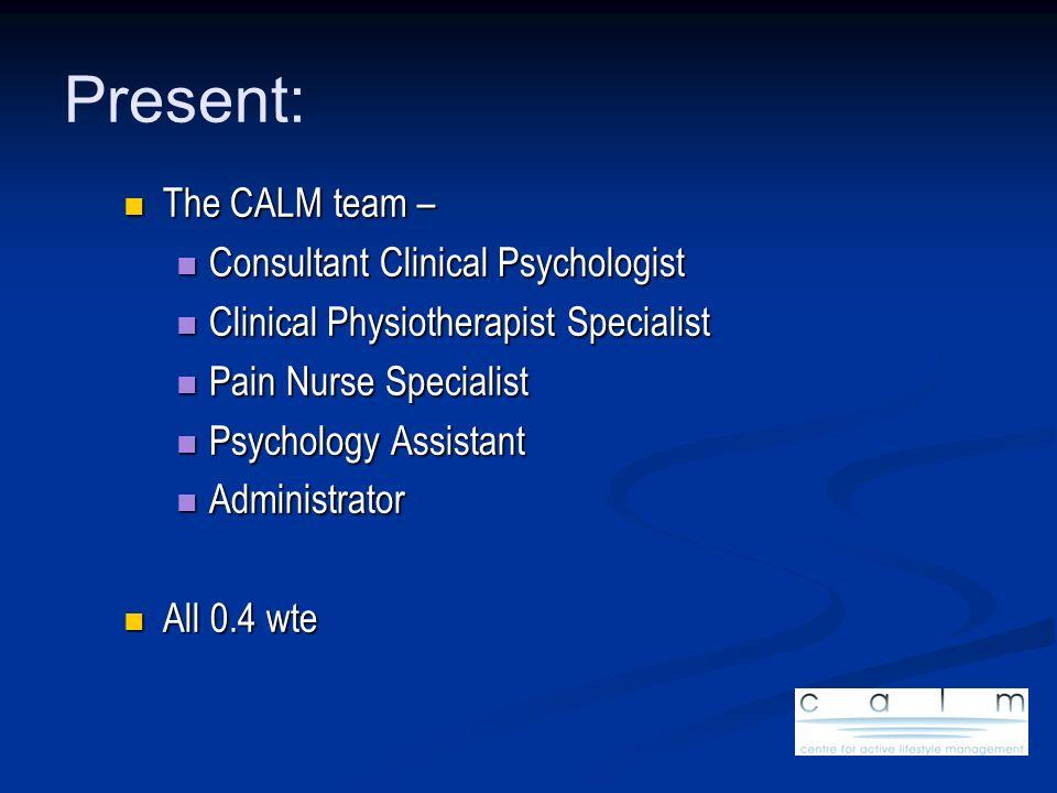 Present: The CALM team – The CALM team – Consultant Clinical Psychologist Consultant Clinical Psychologist Clinical Physiotherapist Specialist Clinica