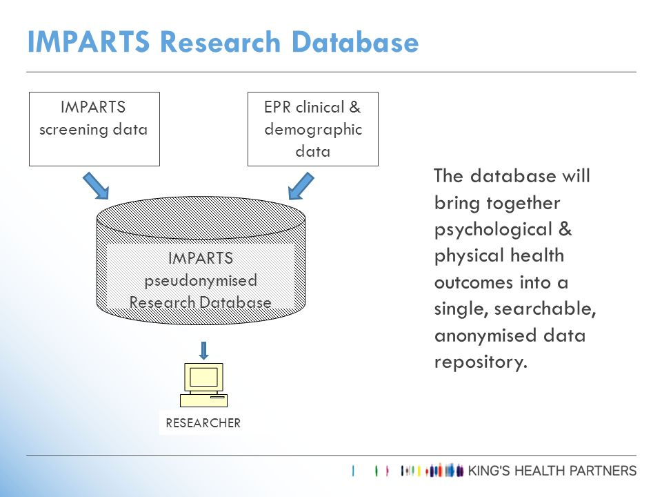 IMPARTS Research Database IMPARTS screening data EPR clinical & demographic data IMPARTS pseudonymised Research Database RESEARCHER The database will bring together psychological & physical health outcomes into a single, searchable, anonymised data repository.