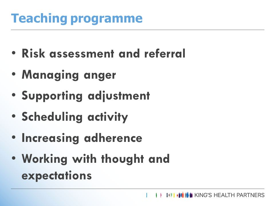 Teaching programme Risk assessment and referral Managing anger Supporting adjustment Scheduling activity Increasing adherence Working with thought and expectations