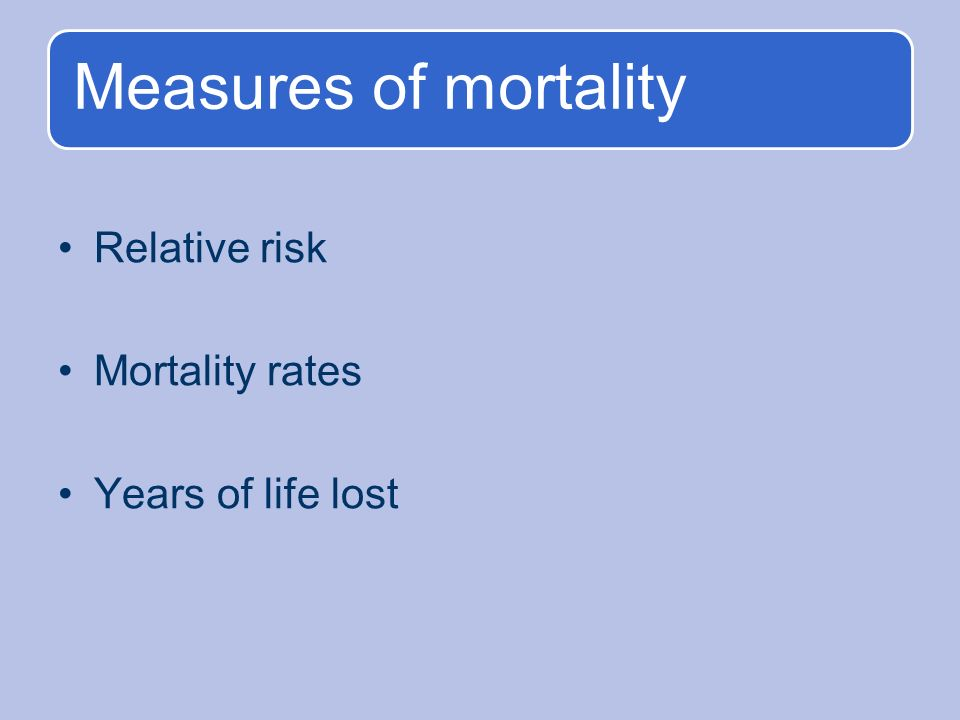Measures of mortality Relative risk Mortality rates Years of life lost