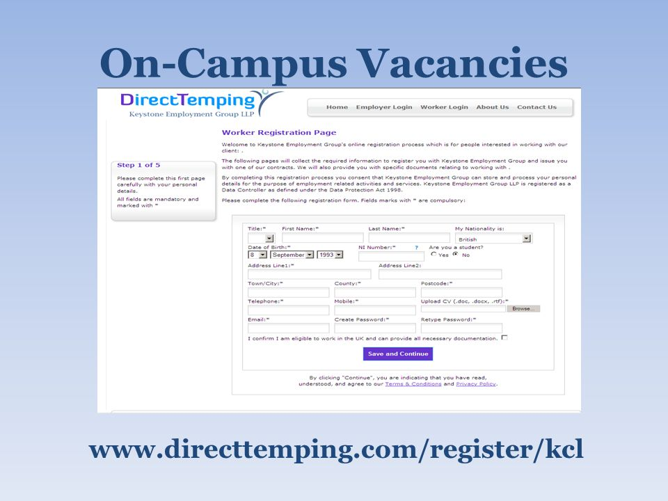 On-Campus Vacancies www.directtemping.com/register/kcl