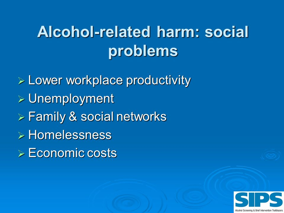 Alcohol-related harm: social problems Lower workplace productivity Lower workplace productivity Unemployment Unemployment Family & social networks Fam