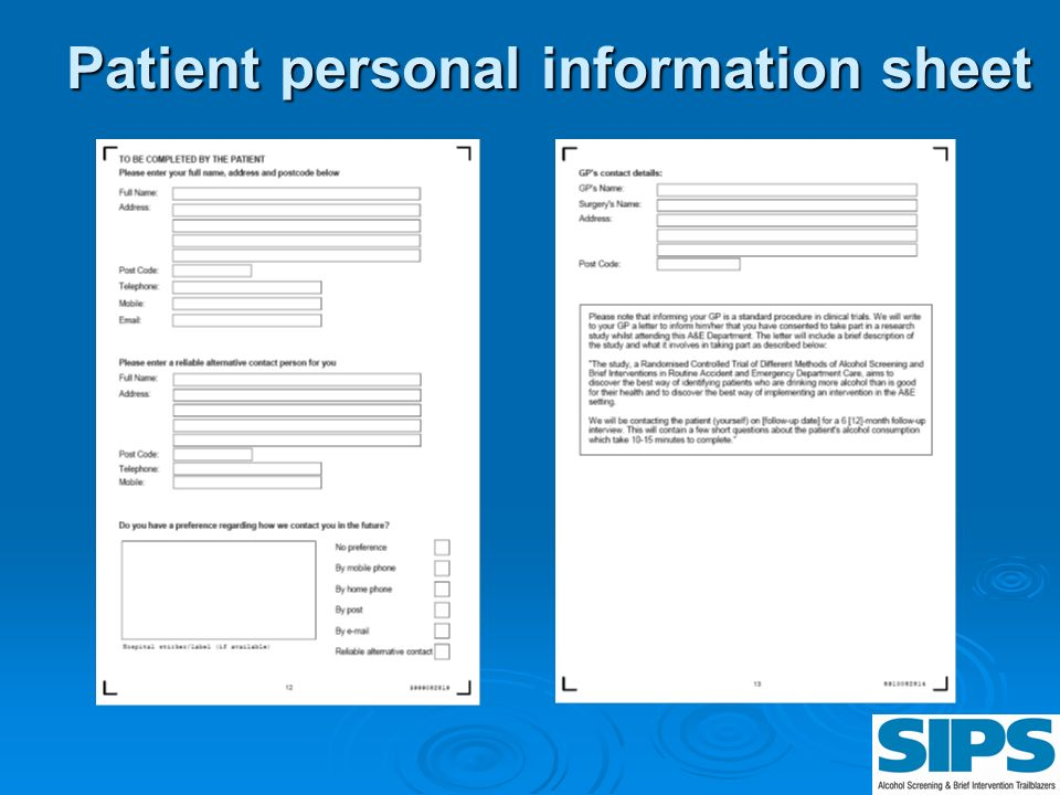 Patient personal information sheet