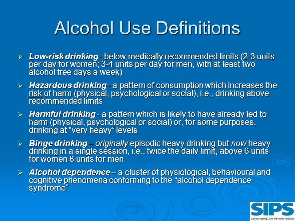 Alcohol Use Definitions Low-risk drinking - below medically recommended limits (2-3 units per day for women; 3-4 units per day for men, with at least