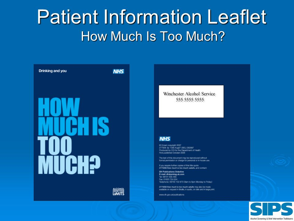 Patient Information Leaflet How Much Is Too Much?