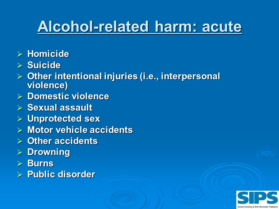 Alcohol-related harm: acute Homicide Homicide Suicide Suicide Other intentional injuries (i.e., interpersonal violence) Other intentional injuries (i.