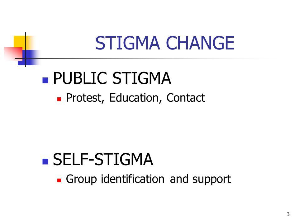 STIGMA CHANGE PUBLIC STIGMA Protest, Education, Contact SELF-STIGMA Group identification and support 3