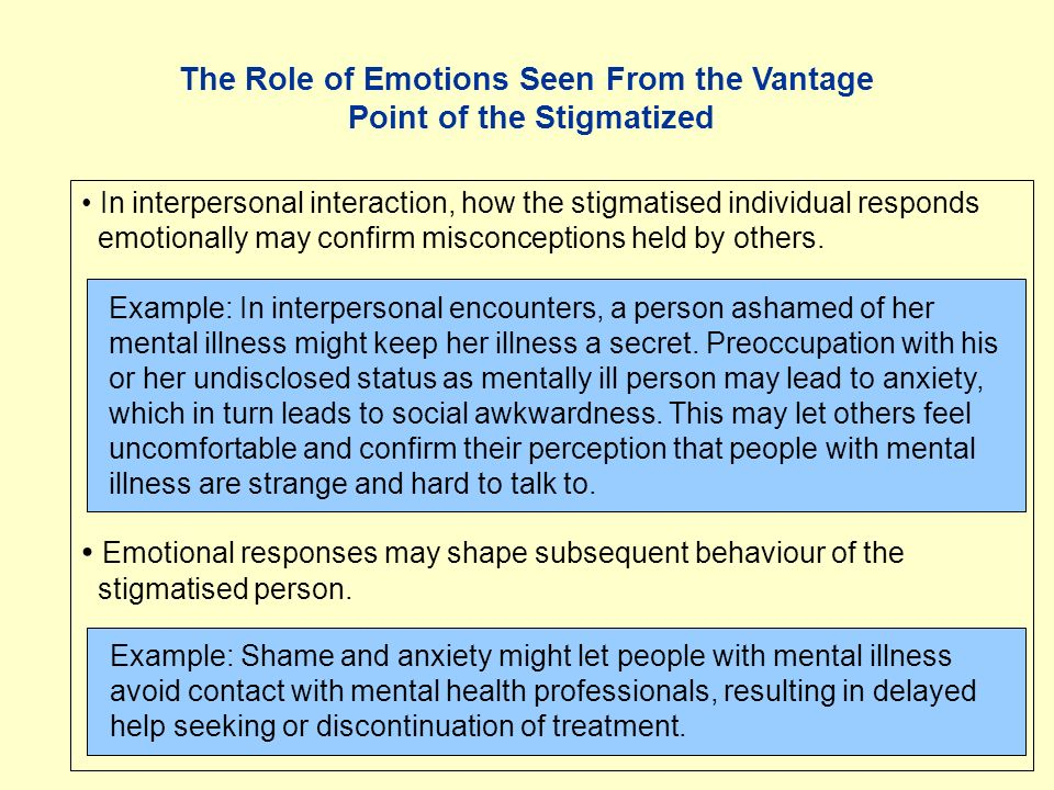 The Role of Emotions Seen From the Vantage Point of the Stigmatized In interpersonal interaction, how the stigmatised individual responds emotionally may confirm misconceptions held by others.