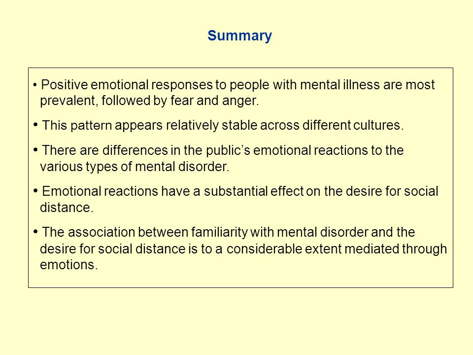 Positive emotional responses to people with mental illness are most prevalent, followed by fear and anger.