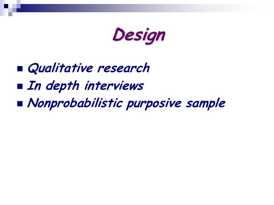 Design Qualitative research In depth interviews Nonprobabilistic purposive sample