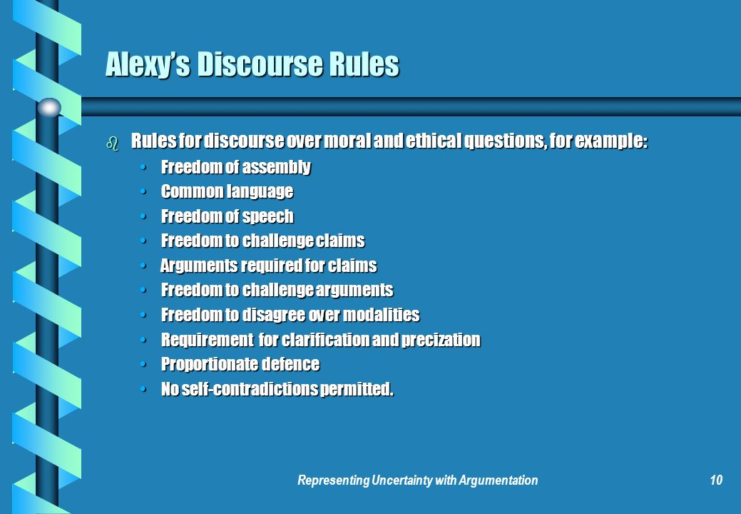 Representing Uncertainty with Argumentation10 Alexys Discourse Rules b Rules for discourse over moral and ethical questions, for example: Freedom of a